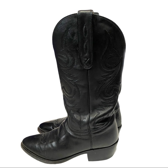 Zecuda Black Leather Western Boots Size 8EE